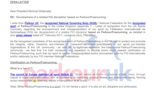 Parkour UKが国際体操連盟(FIG)のパルクール管理種目追加の動きに対して「不正であり侵害」とコメント